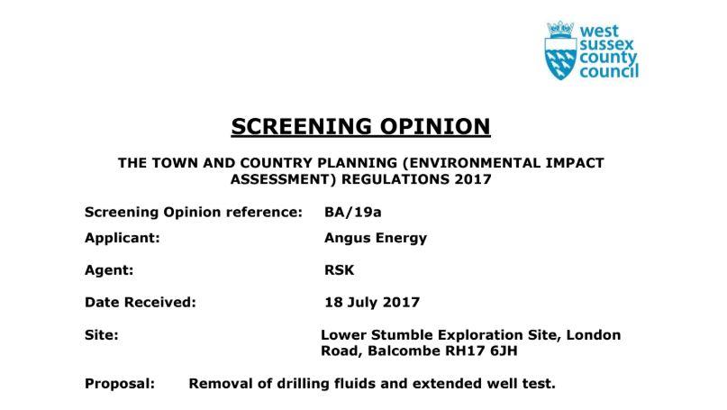 WSCC Screening Opinion